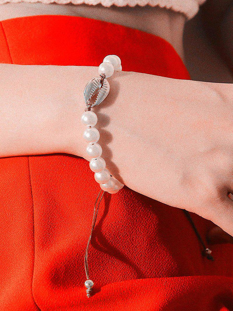 Chic Faux Pearl Shell Adjustable Rope Bracelet