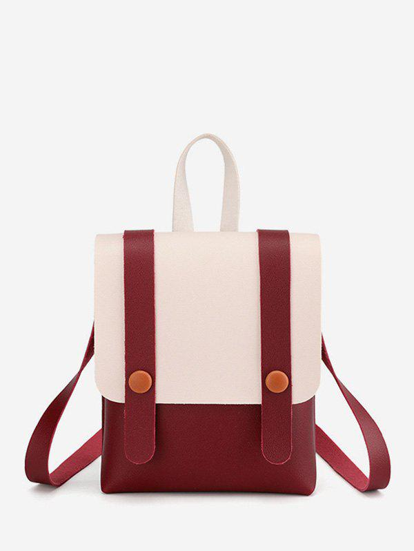 New Contrast Strap Accent Flap PU Backpack