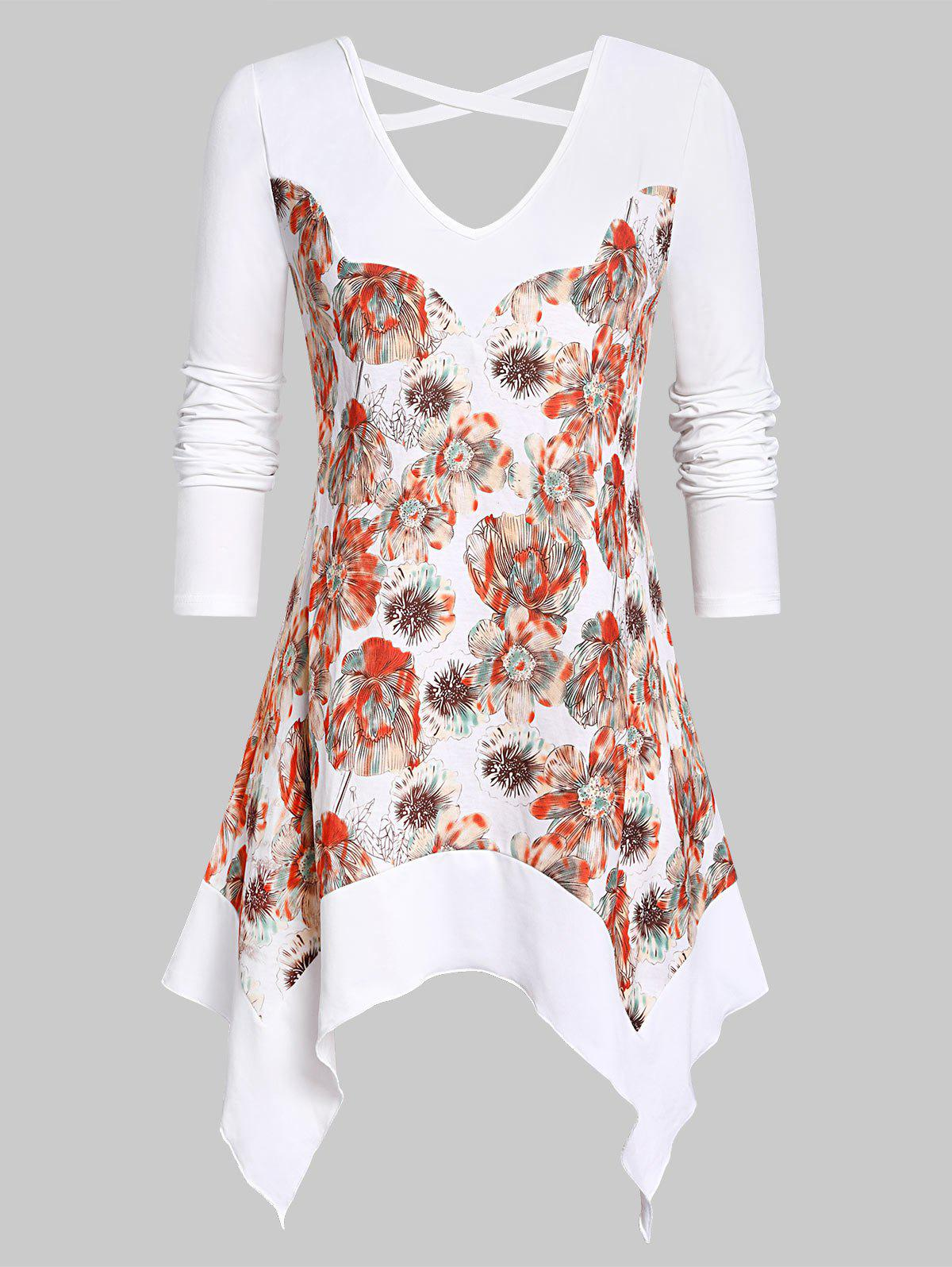 Chic Plus Size Handkerchief Criss Cross Floral T Shirt