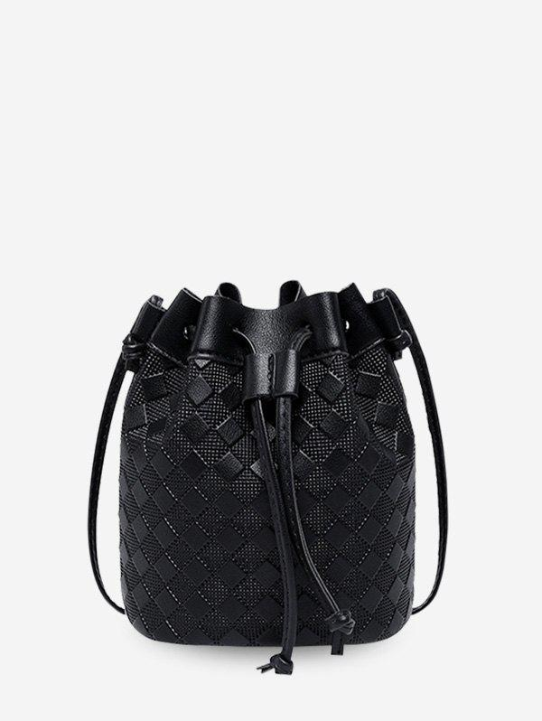 Shop Embossed Checkered Crossbody Bucket Bag
