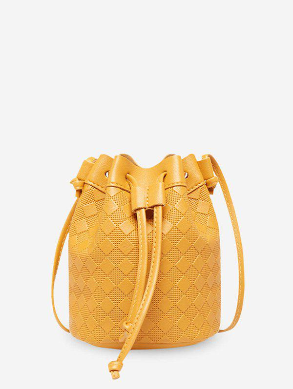 Unique Embossed Checkered Crossbody Bucket Bag
