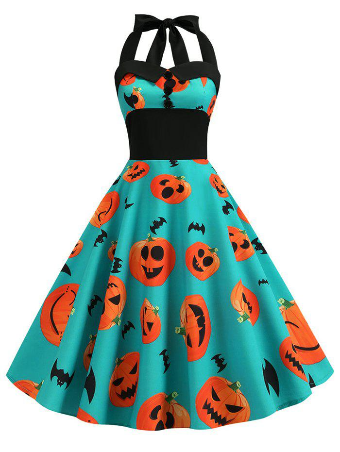 Chic Pumpkin Ghost Buttons Halloween Halter Dress