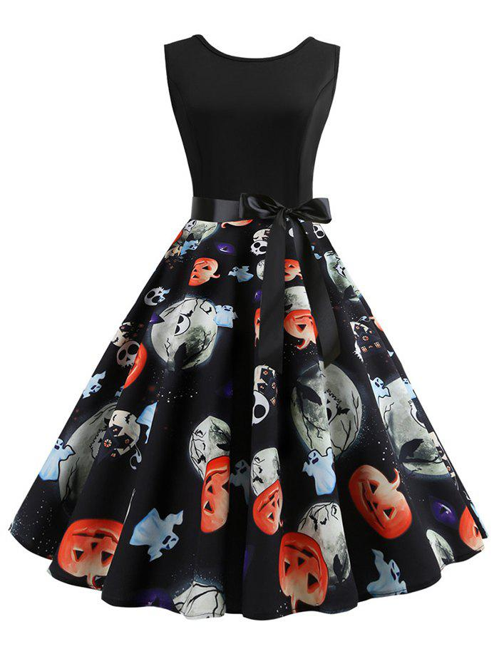Chic Ghost Pumpkin Skull Belted Flared Halloween Dress