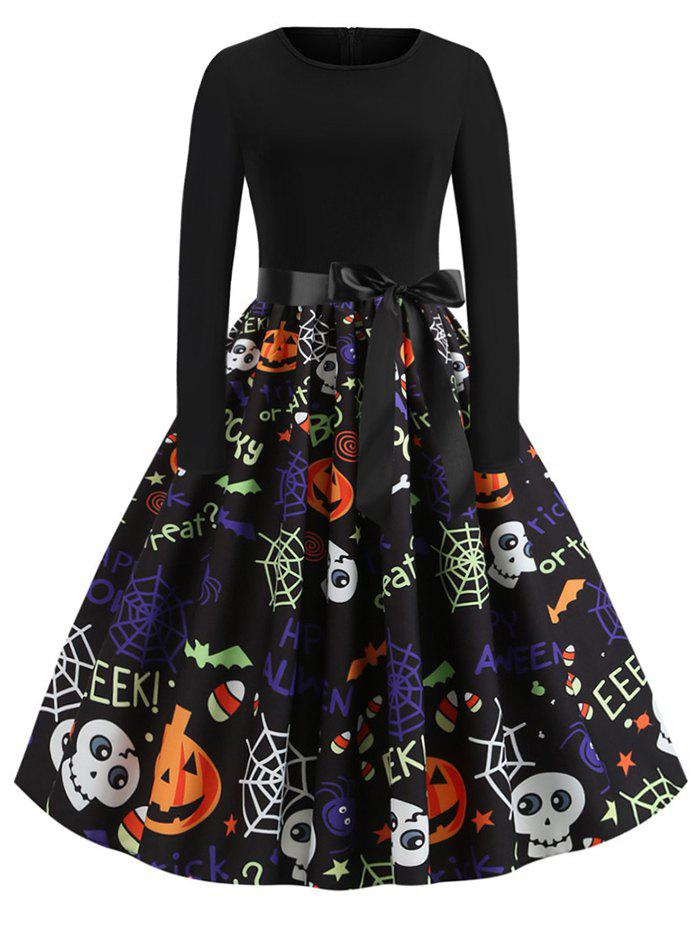 Unique Pumpkin Skull Spiders Belted Long Sleeves Halloween Dress