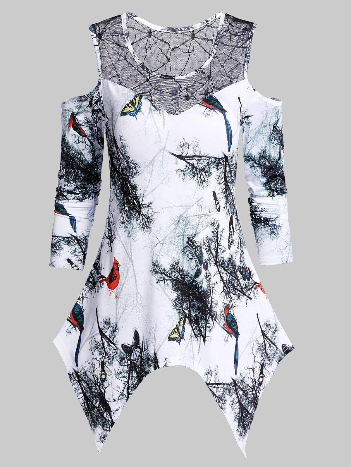 Store Asymmetrical Open Shoulder Bird Print T Shirt