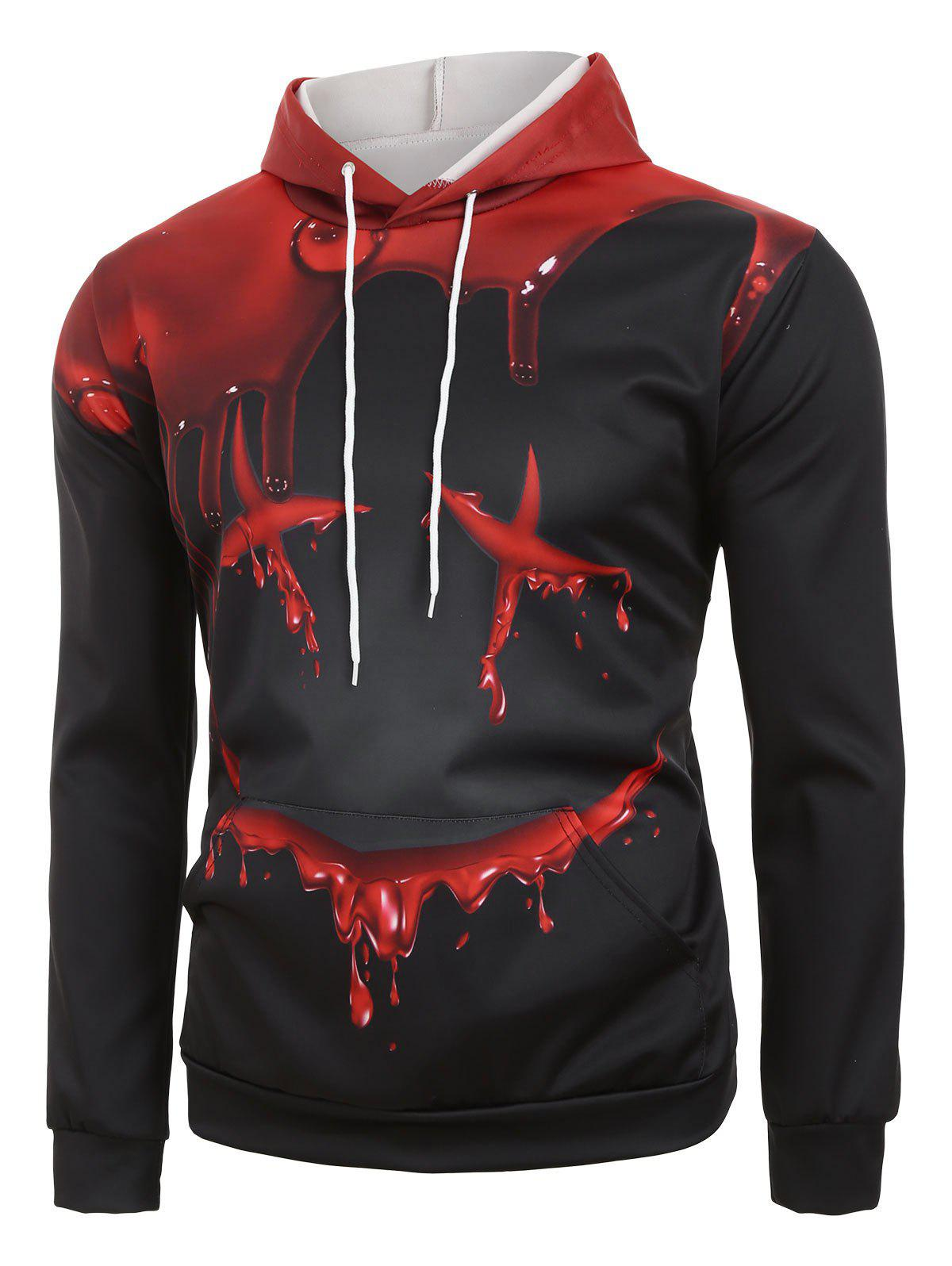 Store Halloween Blood Face Print Front Pocket Hoodie