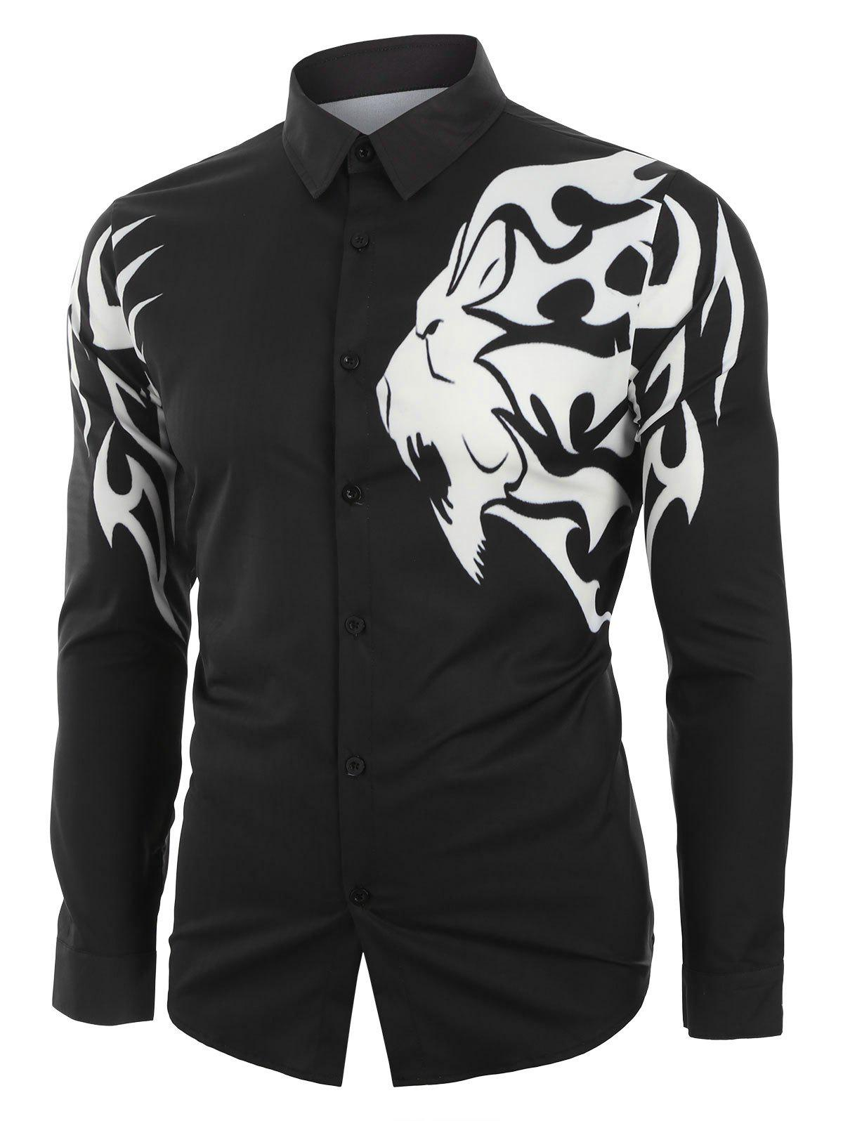 Affordable Leopard Pattern Print Long Sleeve Button Casual Shirt