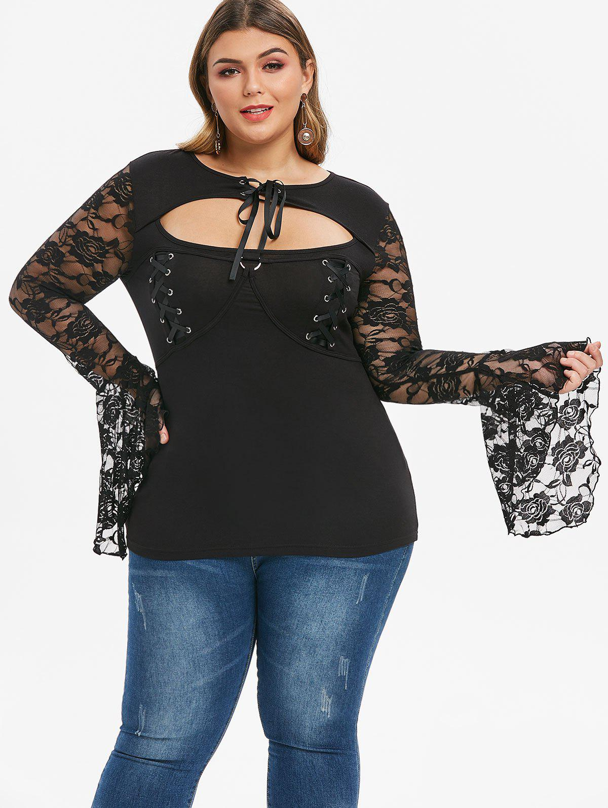 Fancy Plus Size Lace Up Sheer Cutout Flare Sleeve Gothic Tee