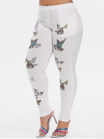 Mid Rise Leaves Floral Plus Size Skinny Pants