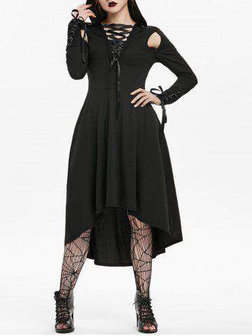 Halloween Hooded Cut Out Lace-up Long Sleeve Gothic Dress