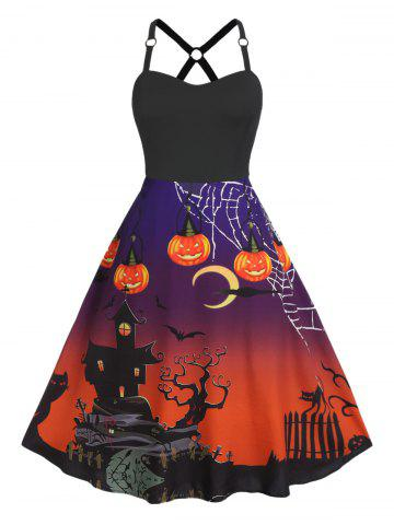Plus Size A Line Halloween Print High Waist Vintage Dress