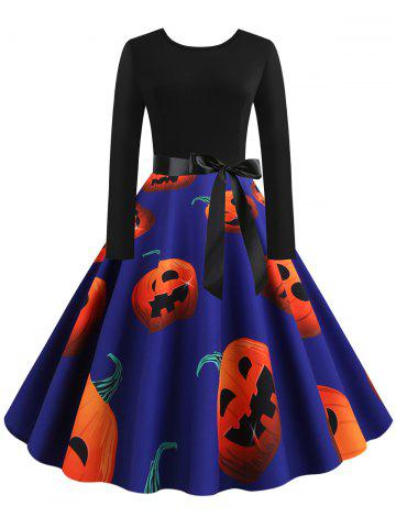 Pumpkin Print Fit and Flare Halloween Dress