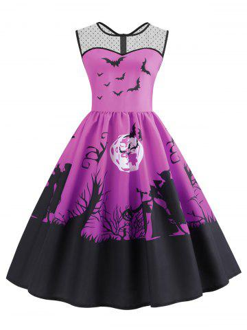 Mesh Panel Bat Print Sleeveless Halloween Dress