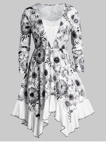 Ruched   Floral   Shirt   Print   Plus   Size