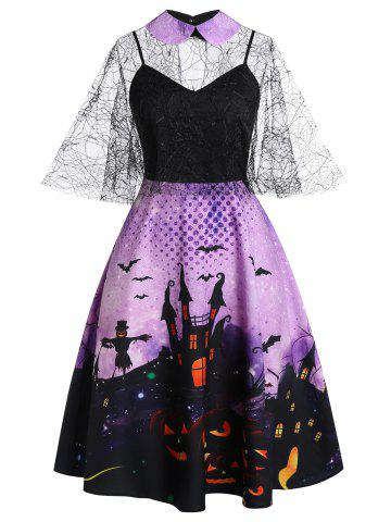 Plus Size Halloween Castle Bat Print Spider Web Sheer Dress Set
