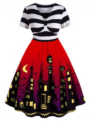 Plus Size Halloween Vintage Pin Up Dress - RED - 4X