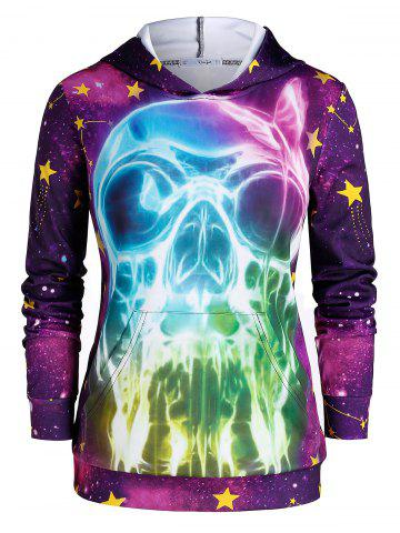 Plus Size 3D Skull Print Galaxy Gothic Halloween Hoodie - MULTI - 2X