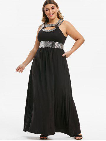 Plus Size Cut Out Sequin Maxi Prom Dress