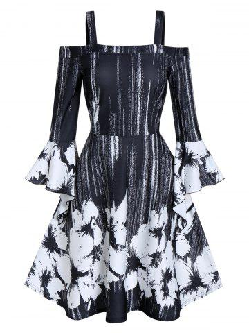 Open Shoulder Ditsy Print Fit And Flare Dress