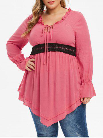 Plus Size Ruffle Front Tie Contrast Lace Tunic Blouse - PINK - 3X