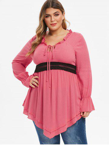 Plus Size Ruffle Front Tie Contrast Lace Tunic Blouse