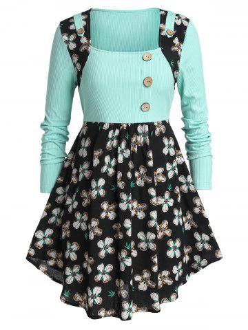 Plus Size Two Tone Buttons Floral Peplum T Shirt