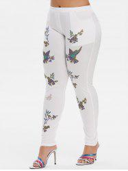 Mid Rise Leaves Floral Plus Size Skinny Pants -