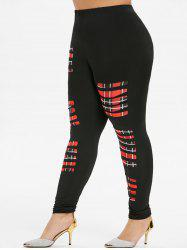 High Waisted Laddering Cutout Plaid Panel Plus Size Leggings -