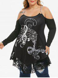Plus Size Musical Notes Chains Cold Shoulder Lace Flounce Tee -