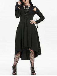 Halloween Hooded Cut Out Lace-up Long Sleeve Gothic Dress -