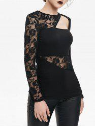 Flower Lace Panel Cut Out Long Sleeve Gothic T-shirt -