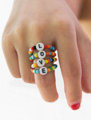 Colored Beaded Letter Design Ring Set -