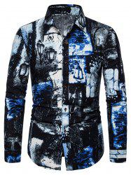 Ink Painting Print Button Long Sleeve Shirt -