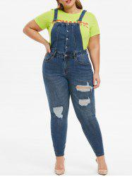 Plus Size Ripped Pocket Dungarees -