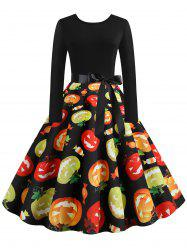 Halloween Pumpkin Candy Print Long Sleeve Dress -