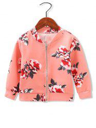 Girls Floral Print Zip Up Jacket -