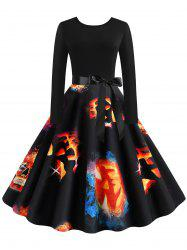 Halloween Pumpkin Print Long Sleeves Dress -