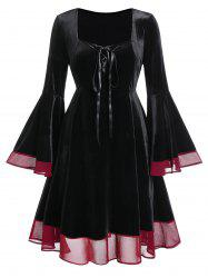 Plus Size Flare Sleeve Lace Up Velvet Gothic Halloween Dress -
