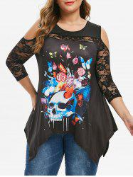 Plus Size Handkerchief Ladder Cut Floral Skull Print Halloween T-shirt -