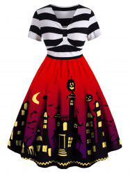 Robe Pin Up d'Halloween Vintage de Grande Taille - Rouge 3X
