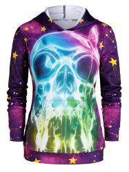 Plus Size 3D Skull Print Galaxy Gothic Halloween Hoodie -