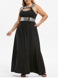 Plus Size Cut Out Sequin Maxi Prom Dress -