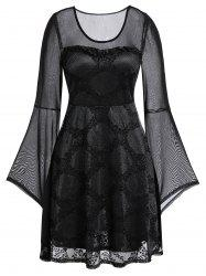 Plus Size Lace Mesh See Thru Flare Sleeve Dress -