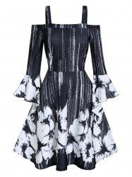 Open Shoulder Ditsy Print Fit And Flare Dress -