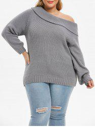 Plus Size Chunky Foldover Skew Collar Sweater -