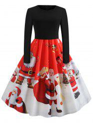Santa Claus Print Long Sleeve Christmas Dress -