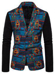 Tribal Geometric Spliced Print Color Block Blazer -