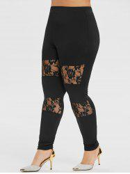 Plus Size High Waisted Rose Lace Skinny Leggings -