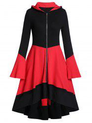 Hooded Two Tone Zip Up Long A Line Coat -
