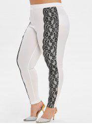 Plus Size Flower Lace Scalloped High Waisted Skinny Pants -